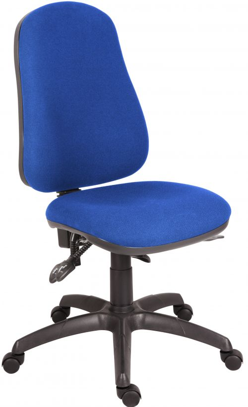 Teknik Office Ergo Comfort Blue Fabric High Back Executive Operator Chair Certified for 24Hr Use Comfort Arm Rests Optional