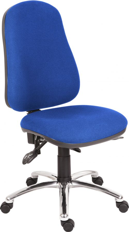 Teknik Office Ergo Comfort Blue Fabric High Back Executive Operator Chair Steel Base Certified for 24Hr Use Comfort Arm Rests Optional