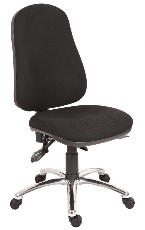 Teknik Office Ergo Comfort Black Fabric High Back Executive Operator Chair Steel Base Certified for 24Hr Use Comfort Arm Rests Optional