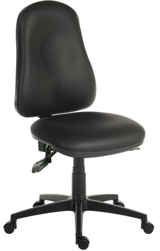 Teknik Office Ergo Comfort Black PU High Back Executive Operator Chair Certified for 24Hr Use Comfort Arm Rests Optional