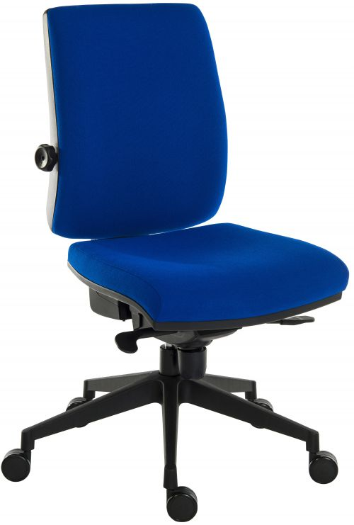 Teknik Office Ergo Plus Blue Fabric 24 Hour Operator Chair Black Ultra Pyramid Base Rated up to 24 Stone Optional Arm Rests
