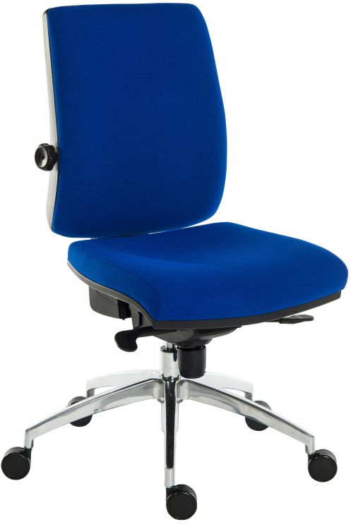 Teknik Office Ergo Plus Blue Fabric 24 Hour Operator Chair Aluminium Pyramid Base Rated up to 24 Stone Optional Arm Rests