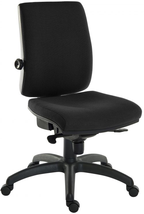 Teknik Office Ergo Plus Black Fabric 24 Hour Operator Chair Standard Black Nylon Base Rated up to 24 Stone Optional Arm Rests