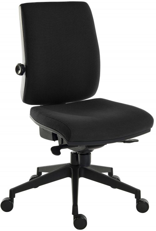 Teknik Office Ergo Plus Black Fabric 24 Hr Operator Chair Black Ultra Pyramid Base Rated up to 24 Stone Optional Arm Rests