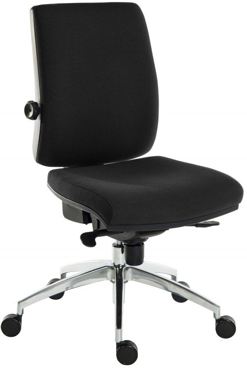 Teknik Office Ergo Plus Black Fabric 24 Hour Operator Chair Aluminium Pyramid Base Rated up to 24 Stone Optional Arm Rests