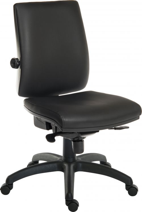 Teknik Office Ergo Plus Black Leather Look 24 Hr Operator Chair Standard Black Nylon Base Optional Arm Rests