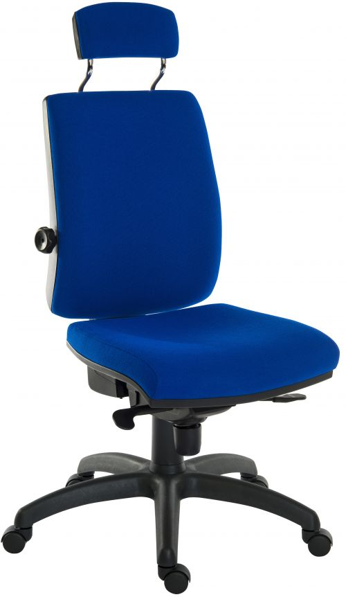 Teknik Office Ergo Plus Blue Fabric 24 Hour Chair Headrest Standard Black Nylon Base Rated up to 24 Stone Optional Arm Rests