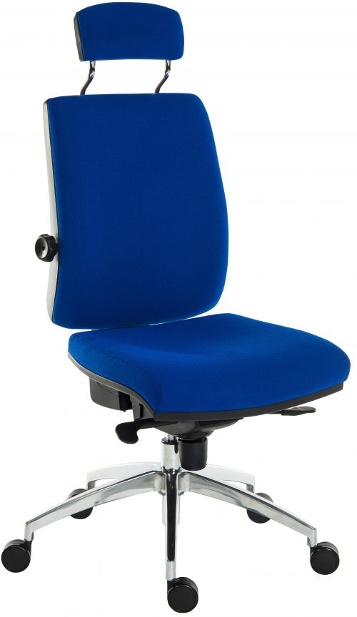 Teknik Office Ergo Plus Blue Fabric 24 Hour Chair Headrest Aluminium Pyramid Base Rated up to 24 Stone Optional Arm Rests