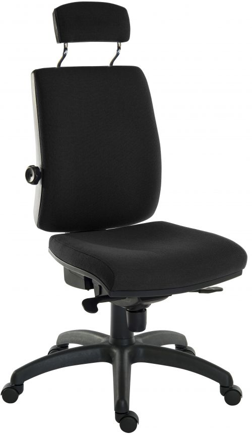 Teknik Office Ergo Plus Black Fabric 24 Hour Chair Headrest Standard Black Nylon Base Rated up to 24 Stone Optional Arm Rests