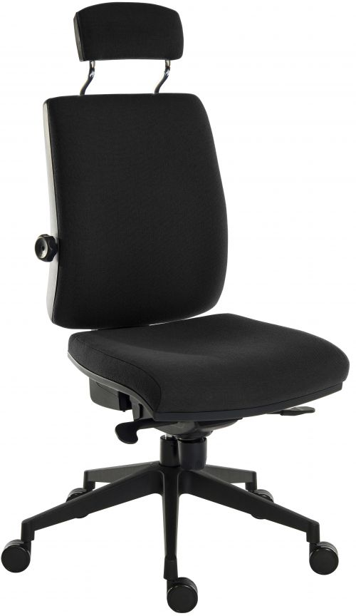 Teknik Office Ergo Plus Black Fabric 24 Hour Chair Headrest And Black Ultra Pyramid Base Rated up to 24 Stone Optional Arm Rests