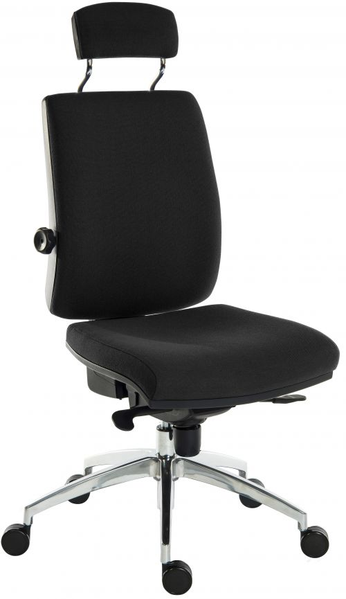 Teknik Office Ergo Plus Black Fabric 24 Hour Chair With Headrest Aluminium Pyramid Base Rated up to 24 Stone Optional Arm Rests