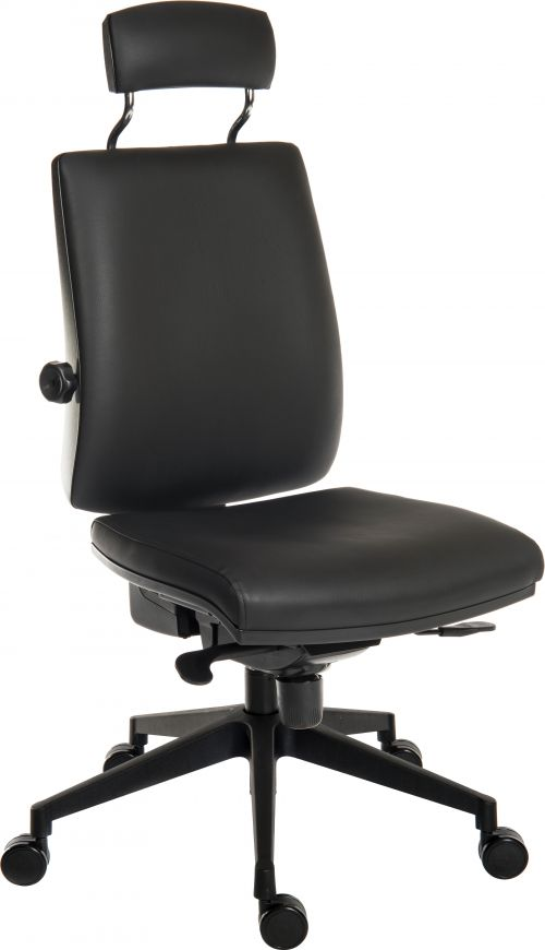 Teknik Office Ergo Plus Black Leather Look 24 Hour Chair With Headrest Black Ultra Pyramid Base Rated up to 24 stone  Accepts Optional Arm Rests
