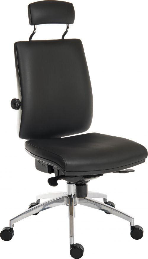Teknik Office Ergo Plus Black Leather Look 24 Hour Chair Headrest Aluminium Pyramid Base Rated up to 24 Stone Optional Arm Rests