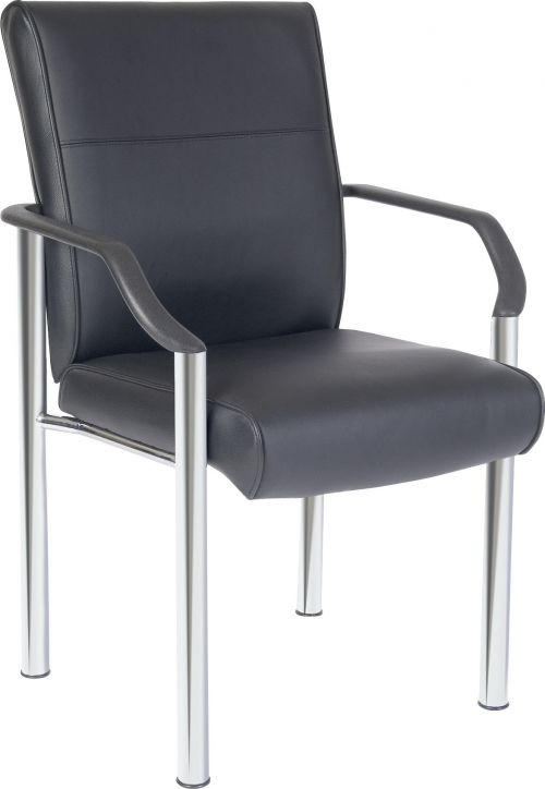 Teknik Office Greenwich Black Leather Faced 4 Legged Reception Chair With Sturdy Nylon Armrests