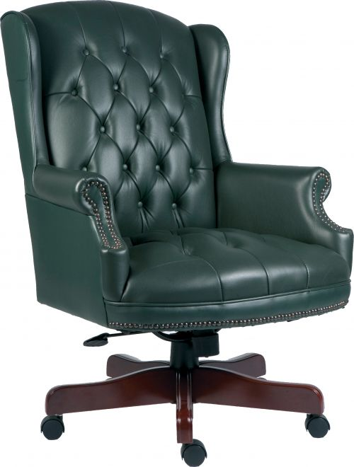 Teknik Office Chairman Green Swivel Traditional Button Tufted Luxury Bonded Leather Executive Chair