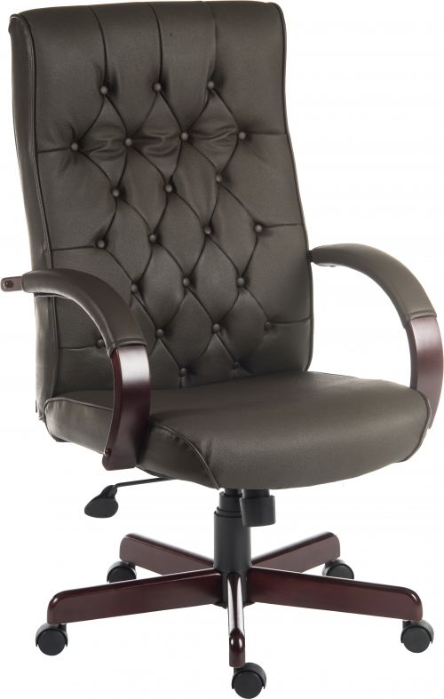 Teknik Office Warwick Brown Bonded Leather Traditional Button Back Chair Matching Mahogany Effect Arms Base