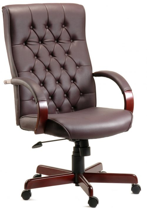Teknik Office Warwick Burgundy Bonded Leather Button Back Chair Matching Mahogany Effect Arms And Base