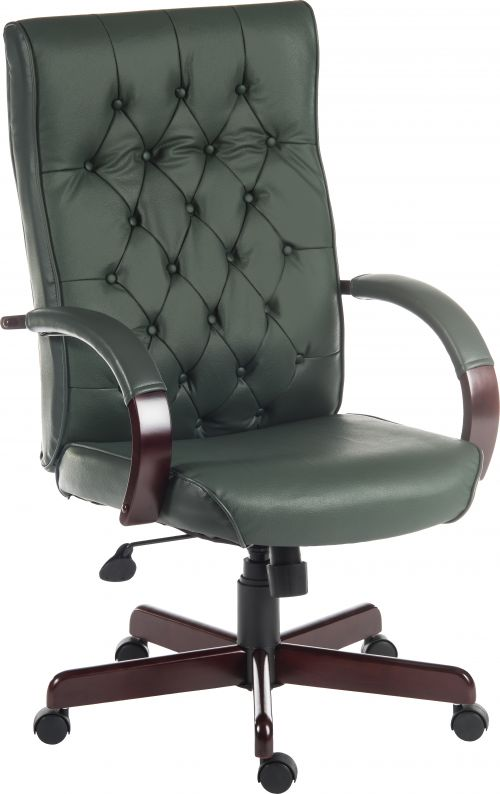 Teknik Office Warwick Green Bonded Leather Traditional Button Back Chair Matching Mahogany Effect Arms Base
