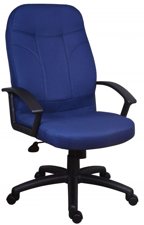 Teknik Office Mayfair Blue Fabric Executive Office Chair Durable Nylon Armrests and Matching Five Star Base