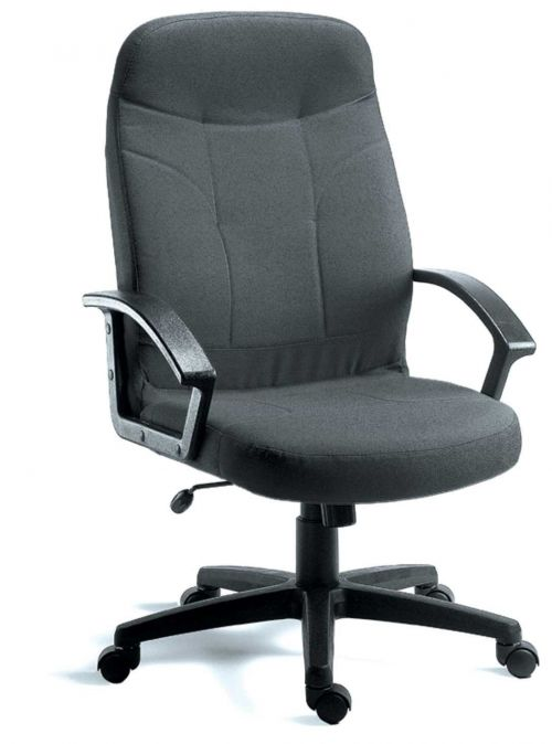 Teknik Office Mayfair Charcoal Fabric Executive Office Chair Durable Nylon Armrests and Matching Five Star Base