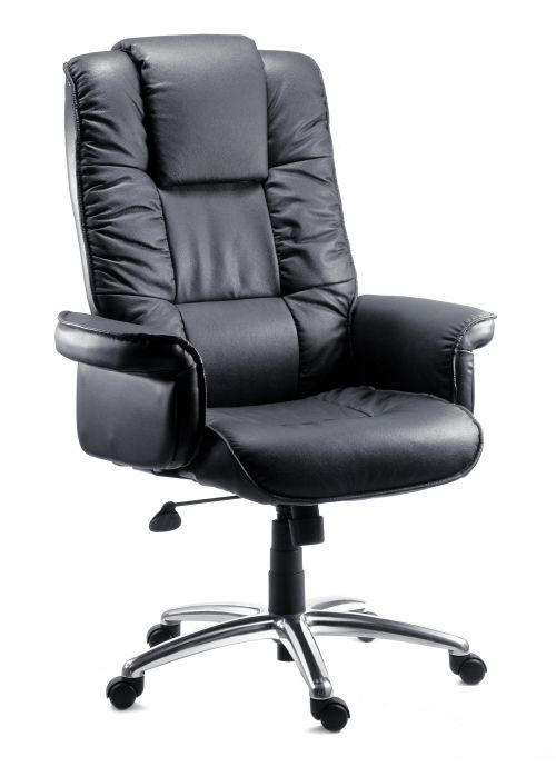 Teknik Office Lombard Black Bonded Leather Executive Armchair with Gull Wing Closed Armrests and Aluminium Base