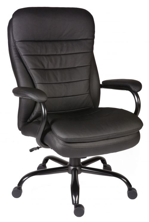 Teknik Office Goliath Heavy Duty Black Bonded Leather Executive Office Chair Matching Padded Armrests