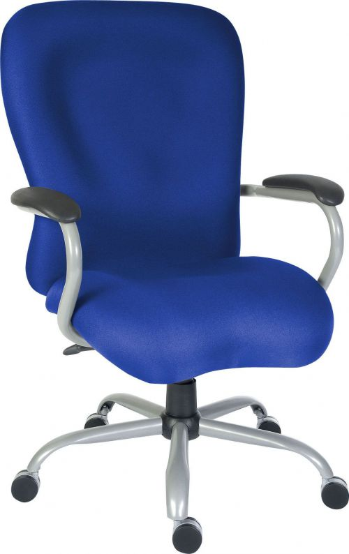 Teknik Office Titan Heavy Duty Blue Fabric Executive Office Chair Padded Armrests and Gun Metal Base