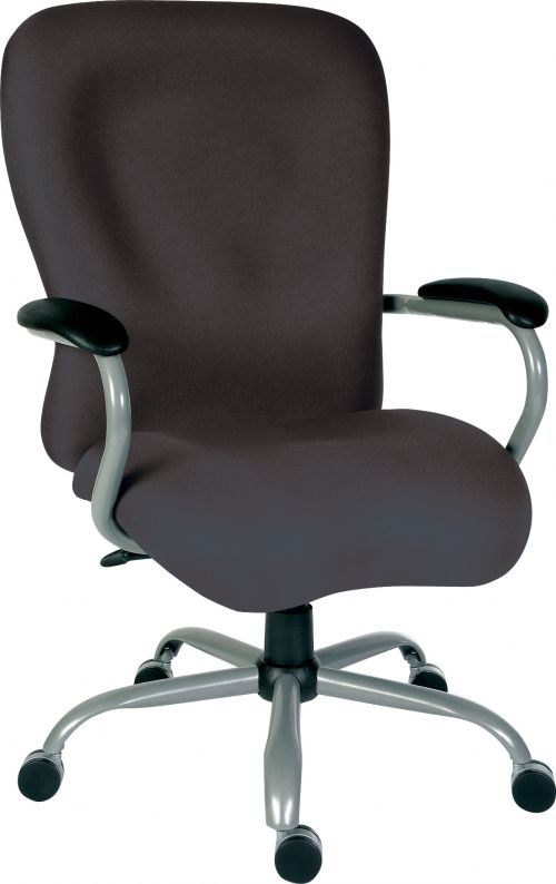 Teknik Office Titan Heavy Duty Charcoal Fabric Executive Office Chair Padded Armrests and Gun Metal Base