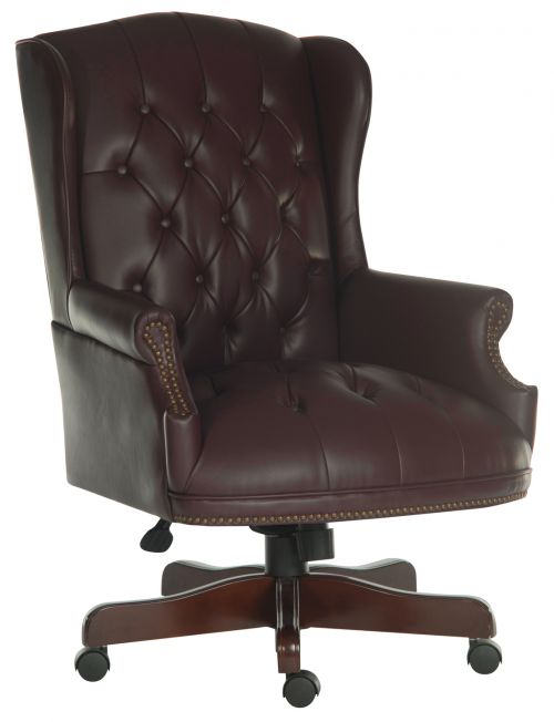 Teknik Office Chairman Burgundy Swivel Button Tufted Luxury Bonded Leather Executive Chair