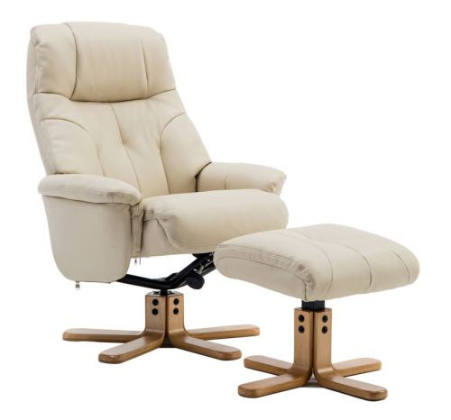 Teknik Denver Recliner Cream Leather Look with Swivel Recline Function Stylish Natural Wood Five Star Base and Matching Footstool