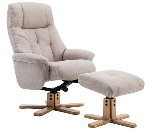Denver Recliner Oatmeal Fabric with Swivel Recline Function Stylish Natural Wood Five Star Base and Matching Footstool