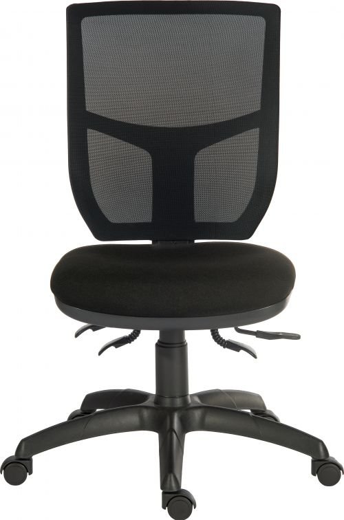 Teknik Office Ergo Comfort Black Fabric Mesh High Backrest Executive Operator Chair Certified for 24Hr Use Comfort Arm Rests Optional
