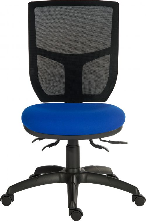 Teknik Office Ergo Comfort Blue Fabric Mesh High Backrest Executive Operator Chair Certified for 24Hr Use Comfort Arm Rests Optional