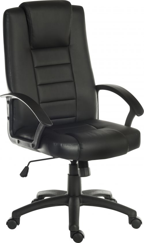 Teknik Office Leader Executive Bonded Leather faced chair in Black with a nylon base and matching armrests