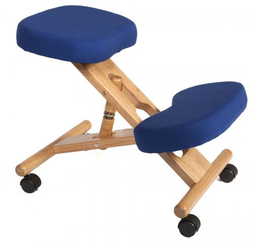 Teknik Office Posture Wooden Framed Ergonomic Kneeling Chair With Blue Fabric Cushions