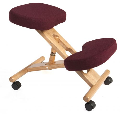 Teknik Office Posture Wooden Framed Ergonomic Kneeling Chair With Burgundy Fabric Cushions