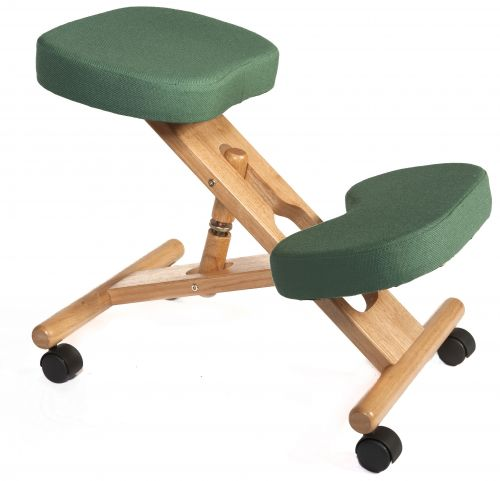 Teknik Office Posture Wooden Framed Ergonomic Kneeling Chair With Green Fabric Cushions