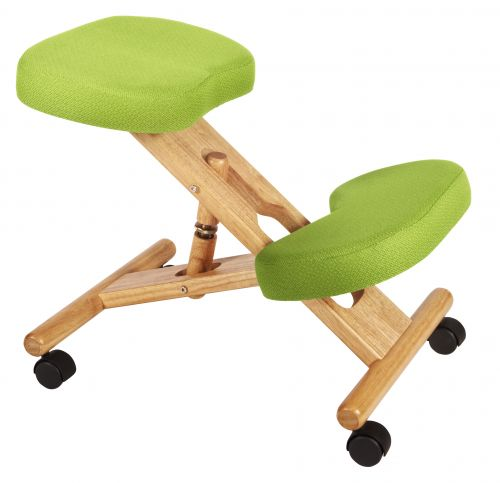 Teknik Office Posture Wooden Framed Ergonomic Kneeling Chair With Lime Green Fabric Cushions