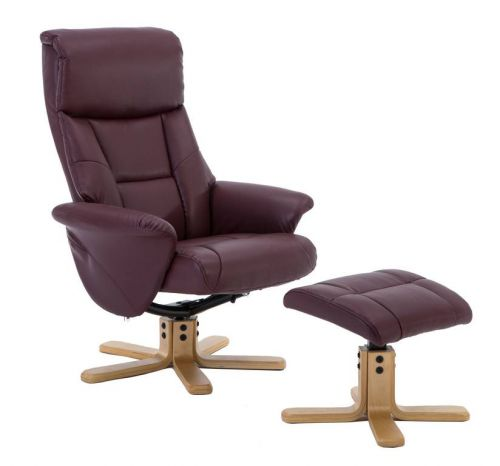 Montreal Recliner Burgundy PU with Swivel Recline Function Stylish Natural Wood Five Star Base and Matching Footstool
