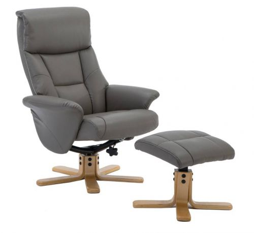 Montreal Recliner Grey PU with Swivel Recline Function Stylish Natural Wood Five Star Base and Matching Footstool