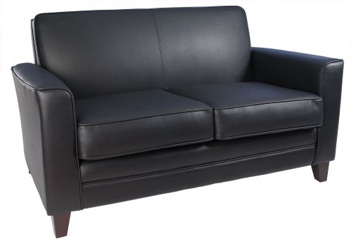 Teknik Office Newport Black Leather Faced Reception 2 Seater Sofa With Wooden Feet
