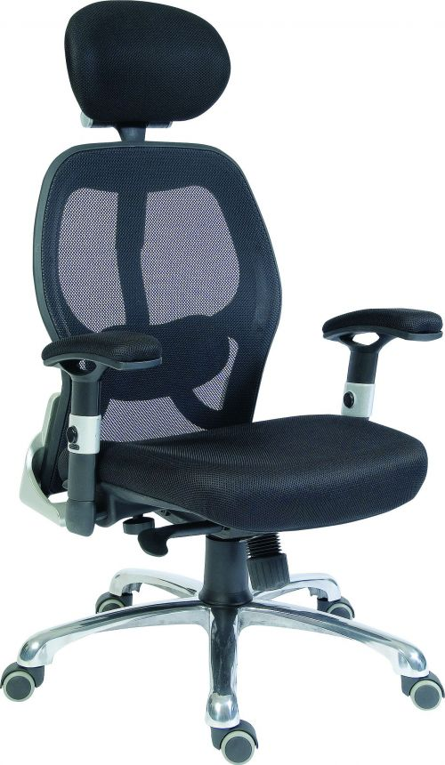 Teknik Office Cobham Black Executive Chair Breathable Mesh Backrest Matching Height Adjustable Padded Armrests