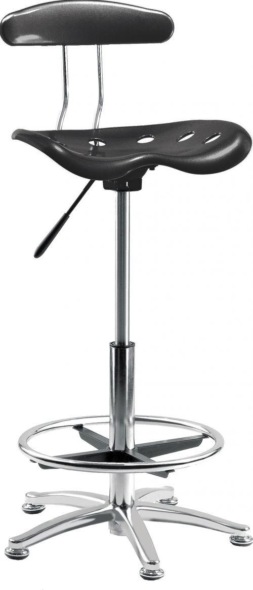 Teknik Office Tek Black Draughting Chair with Polished Steel Footring