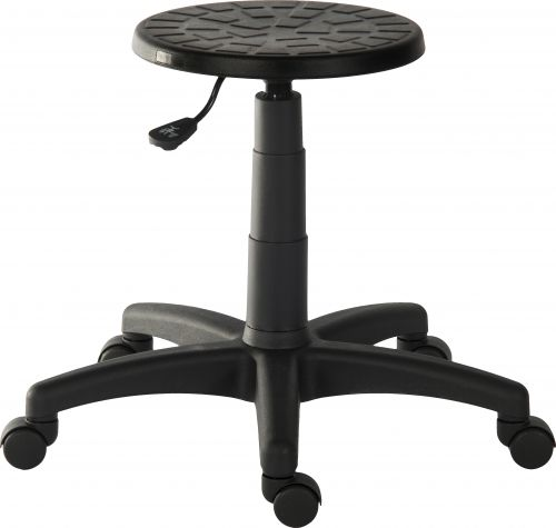 Teknik Office Polly Black Stool With A Height Adjustable Easy Clean Seat and A Durable Nylon Base