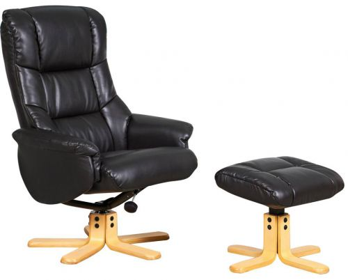 Teknik Office Chicago Black Luxury Recliner Chair With Natural Base and Matching Footstool