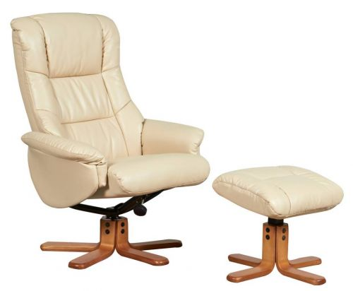 Teknik Office Chicago Cream Luxury Recliner Chair With Cherry Base and Matching Footstool