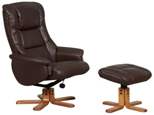Teknik Office Chicago Nut Brown Luxury Recliner Chair With Cherry Base and Matching Footstool