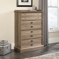 Teknik Office Barrister Home Four Drawer Chest in Salt Oak Finish with patented T-lock assembly system feature metal runners and safety stops
