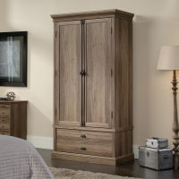 Teknik Office Barrister Home Wardrobe in Salt Oak Finish with matching double doors, adjustable internal shelf, garment rod and one large drawer