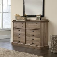 Teknik Office Barrister Home Dresser in Salt Oak Finish with six drawers all featuring metal runners with safety stops and two different contrasting b